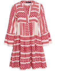 Devotion Red Zakar Embroidery Dress - Rosso