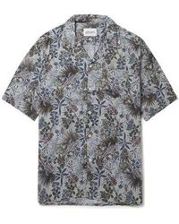beb4731542891 Mauro Grifoni Leaf Print Linen Cambric Shirt in Blue for Men - Lyst