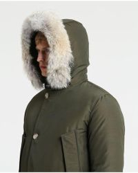 d7f402f1646 Ben Sherman Ballistic Nylon Hooded Parka With Faux Fur Trim in Blue ...