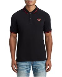 e0a405f78 True Religion Tri Rugby Polo Shirt in Black for Men - Lyst