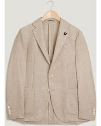 Lardini - Lightweight Wool Linen Checked Jacket - Lyst
