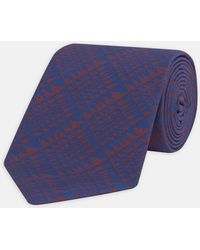 Turnbull & Asser - Geometric Triangles Red And Navy Silk Tie - Lyst