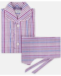 Turnbull & Asser - Two-fold 120 Pink And Blue Multi Check Cotton Pyjama Set - Lyst