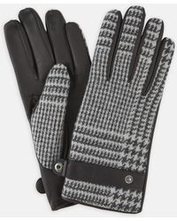 Turnbull & Asser Black And White Houndstooth Wool And Leather Gloves