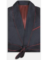 Turnbull & Asser - Navy And Red Piped Cashmere Gown - Lyst