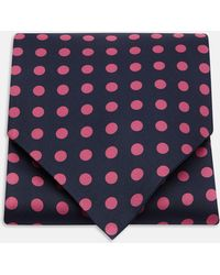 Turnbull & Asser - Navy And Pink Large Spot Silk Ascot Tie - Lyst