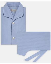 Turnbull & Asser - Blue Piped Pinstripe Cotton Pyjama Set - Lyst