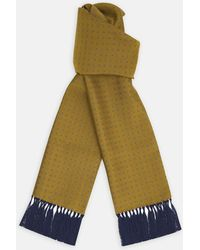 Turnbull & Asser - Yellow Spaced Paisley Silk Scarf - Lyst