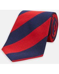 Turnbull & Asser - Long Navy And Red Block Stripe Repp Silk Tie - Lyst