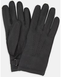 Turnbull & Asser Black Kirkdale Leather Gloves