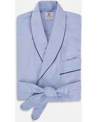 Turnbull & Asser - Blue Fine Bengal Stripe Piped Cotton Gown - Lyst