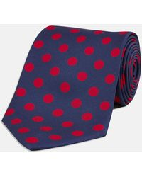 Turnbull & Asser - Navy And Red Large Spot Printed Silk Tie - Lyst