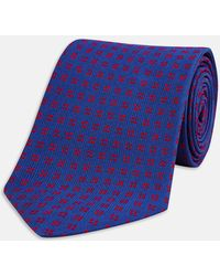 Turnbull & Asser - Navy And Red Mini Square Spot Silk Tie - Lyst