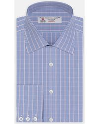 Turnbull & Asser - Pink And Royal Blue Deep Check Shirt With Classic T&a Collar And 3-button Cuffs - Lyst