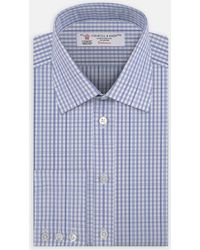 Turnbull & Asser - Navy Layered Check Shirt With Classic T&a Collar And Button Cuffs - Lyst