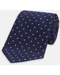 Turnbull & Asser - Navy And White Spot Lace Silk Tie - Lyst