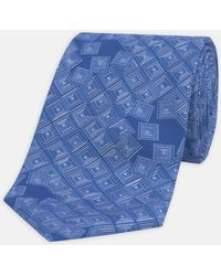 Turnbull & Asser - Shattered Squares Blue And White Silk Tie - Lyst