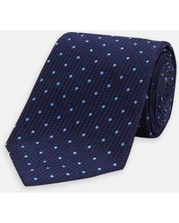 Turnbull & Asser - Navy And Light Blue Spot Lace Silk Tie - Lyst