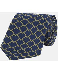 Turnbull & Asser - Navy And Yellow Square Scales Silk Tie - Lyst