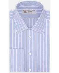 Turnbull & Asser - Pink And Royal Blue Portland Stripe Shirt With Classic T&a Collar And Double Cuffs - Lyst