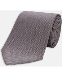Turnbull & Asser - Dark Grey Herringbone Silk Tie - Lyst