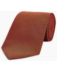 Turnbull & Asser - Navy And Orange Houndstooth Silk Tie - Lyst