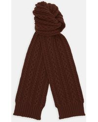 Turnbull & Asser - Red Grouse Cable Knit Cashmere Scarf - Lyst