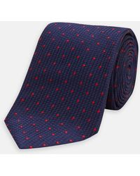 Turnbull & Asser - Navy And Red Spot Lace Silk Tie - Lyst