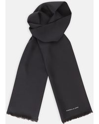 Turnbull & Asser - Plain Black Silk Scarf - Lyst