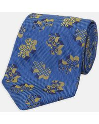 Turnbull & Asser - 3d Jigsaw Blue And Yellow Silk Tie - Lyst