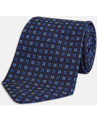Turnbull & Asser - Black And Blue Mini Square Spot Silk Tie - Lyst