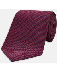 Turnbull & Asser - Long Navy And Burgundy Houndstooth Silk Tie - Lyst