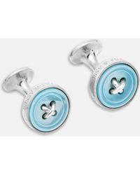 Turnbull & Asser - Blue Sterling Silver Button Cufflinks - Lyst