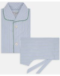 Turnbull & Asser - Blue And Green Archive Stripe Cotton Pyjama Set - Lyst