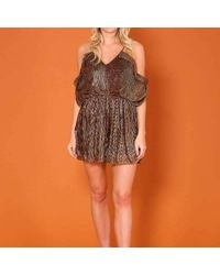 51cb94cc5aef Forever Unique Leopard Print Playsuit in Brown - Lyst