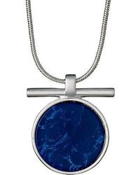 Pilgrim - Silver Plated Blue Detail Necklace - Lyst