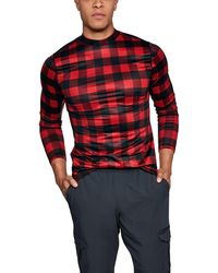 Under Armour - Men's Coldgear® Armour Plaid Fitted Mock *ships 12/11/2017* - Lyst