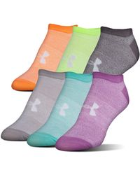 62a93329e6 Lyst - Under Armour Solid 6 Pack No Show Big Logo Socks 1259396-970