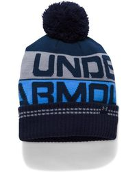 6605cdd88bd Lyst - Under Armour Men s Ua Retro Pom 2.0 Beanie in Blue for Men