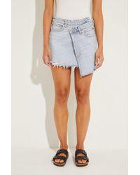 Agolde - Usedlook Jeans-Rock 'Criss Cross' Blau 100% Baumwolle Größe des Models: 175 cm - Lyst