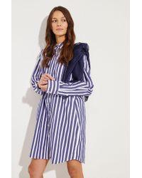 Sacai - Gestreiftes Hemdblusenkleid mit Detail Blau/Weiß 100% Baumwolle Detail: - Lyst