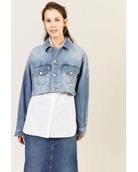 Ganni - Oversize Jeansjacke Blau 100% Baumwolle Made in Italy - Lyst
