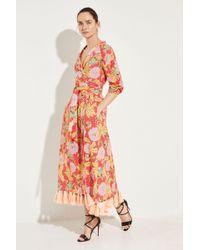 Rhode Resort - Wickelkleid 'Lena' mit Print Rot/Multi 100% Baumwolle - Lyst