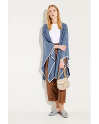 Agnona - Cashmere-Poncho Blau/Beige 100% Cashmere Made in Italy - Lyst
