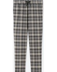 Uniqlo - Easy Flannel Striped Checked Trousers - Lyst