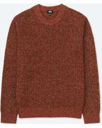 Uniqlo - Men Waffle Knit Crewneck Long-sleeve Sweater - Lyst