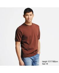 799f19864ae Lyst - Uniqlo Men Washable Striped Crewneck Short-sleeve Sweater in ...