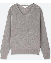 Uniqlo - Women Cotton Cashmere V-neck Sweater - Lyst