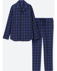 Uniqlo - Flannel Pyjamas (long Sleeve) - Lyst