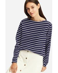 Uniqlo - Women Striped Boat Neck Long-sleeve T-shirt - Lyst